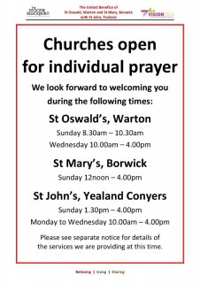 Churches open for individual prayer